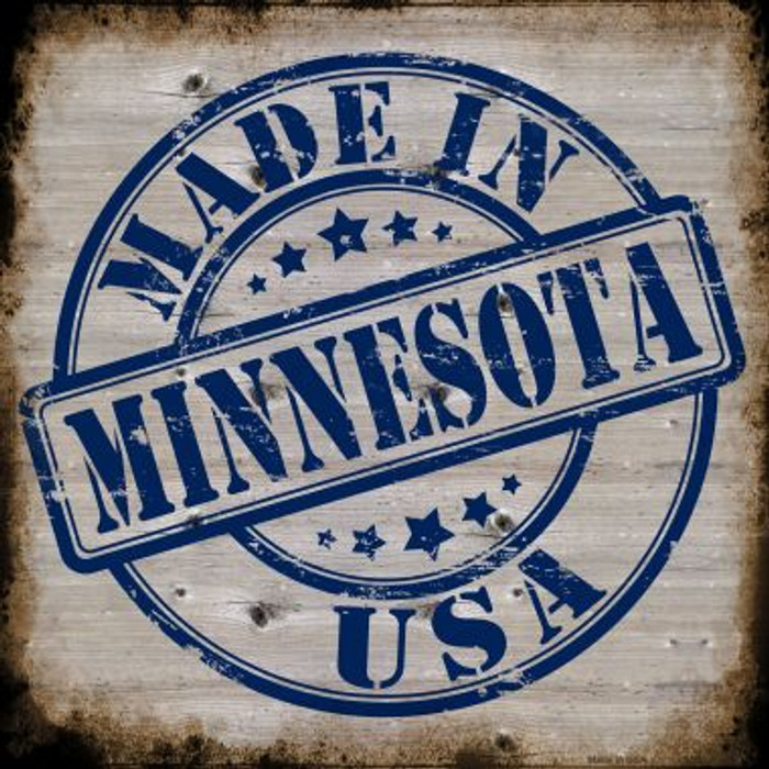 Minnesota Stamp On Wood Novelty Metal Square Sign