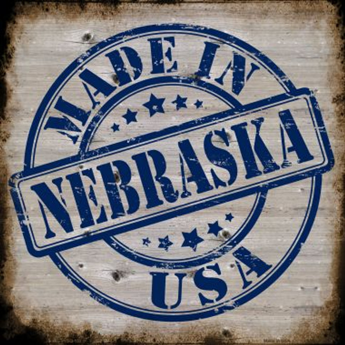 Nebraska Stamp On Wood Novelty Metal Square Sign
