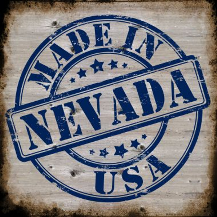 Nevada Stamp On Wood Novelty Metal Square Sign