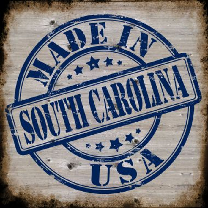 South Carolina Stamp On Wood Novelty Metal Square Sign