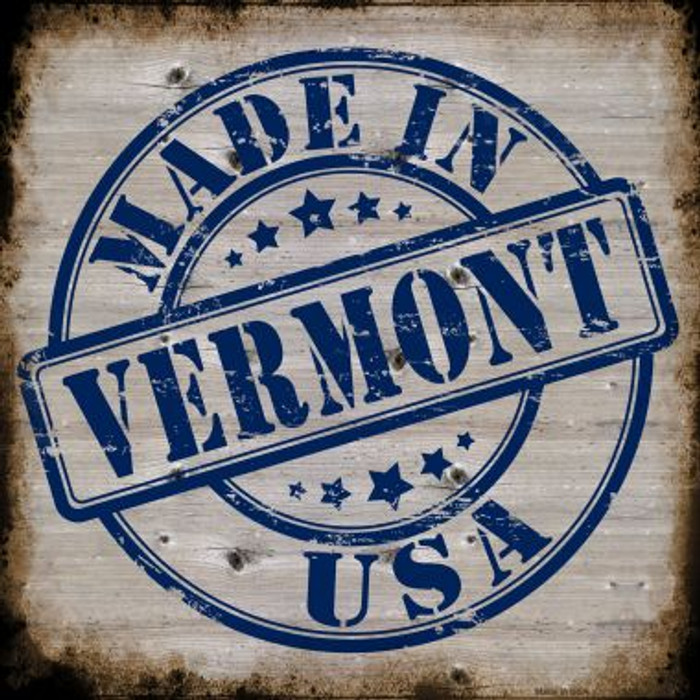 Vermont Stamp On Wood Novelty Metal Square Sign