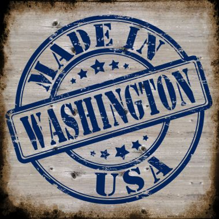 Washington Stamp On Wood Novelty Metal Square Sign