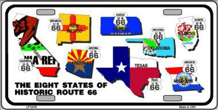 Route 66 Historic 8 Flags Metal Novelty License Plate