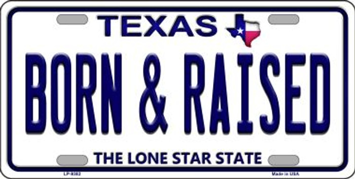 Born and Raised Texas Background Novelty Metal License Plate