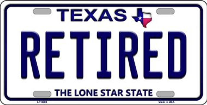 Retired Texas Background Novelty Metal License Plate