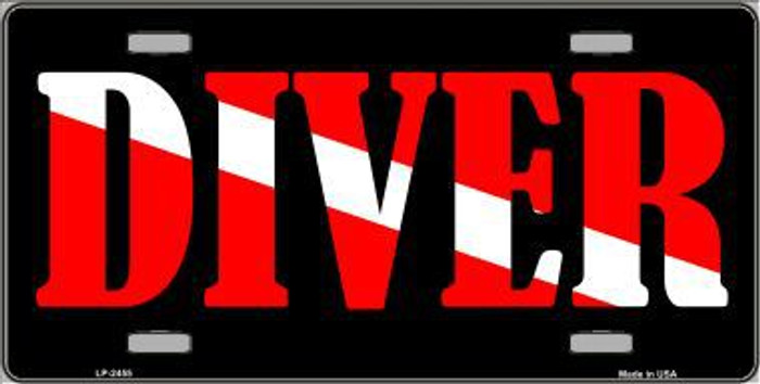 Scuba Diver Metal Novelty License Plate