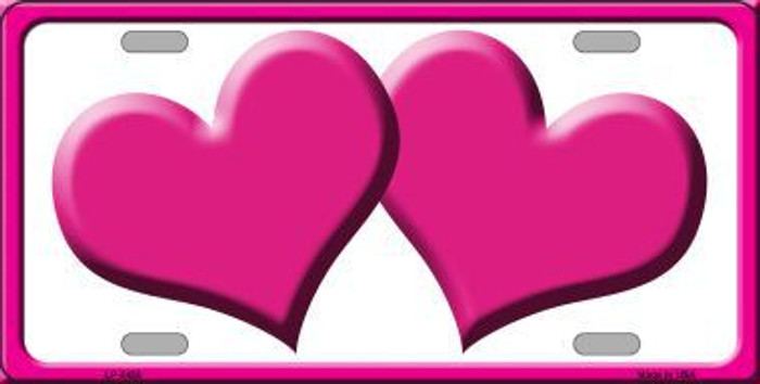Solid Pink Centered Hearts With White Background Novelty License Plate