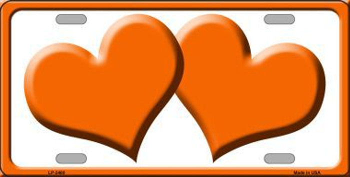Solid Orange Centered Hearts With White Background Novelty License Plate