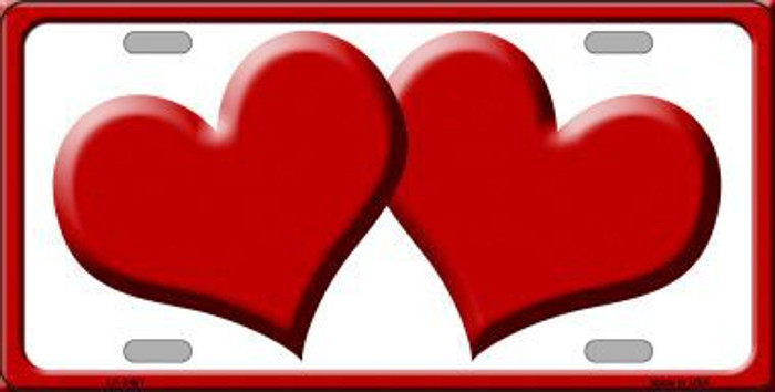 Solid Red Centered Hearts With White Background Novelty License Plate