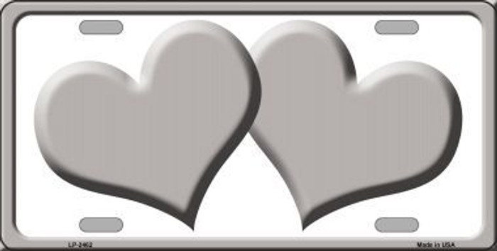 Solid Grey Centered Hearts With White Background Novelty License Plate