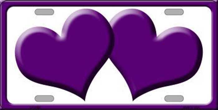 Solid Purple Centered Hearts With White Background Novelty License Plate