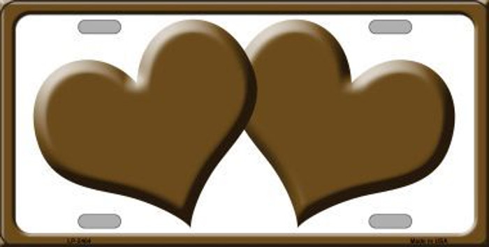 Solid Brown Centered Hearts With White Background Novelty License Plate