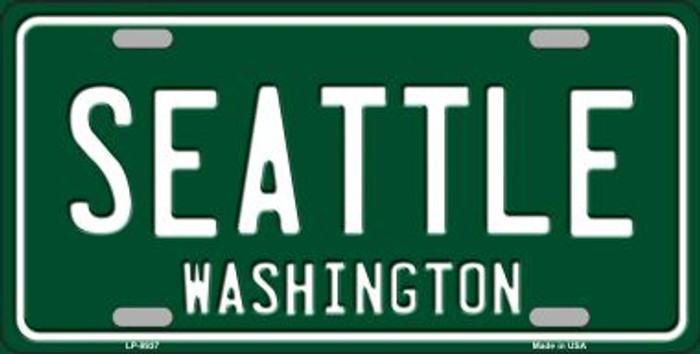 Seattle Washington Green Background Novelty Metal License Plate