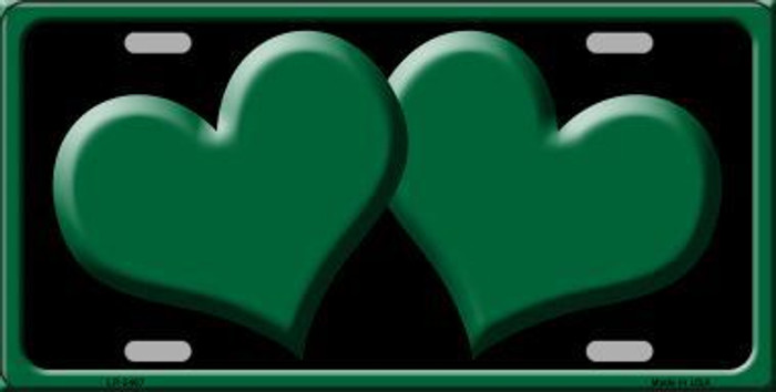 Solid Green Centered Hearts With Black Background Novelty License Plate