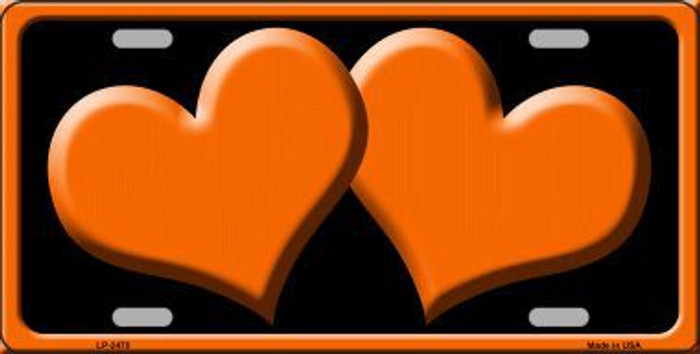 Solid Orange Centered Hearts With Black Background Novelty License Plate