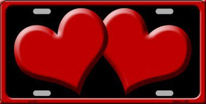 Solid Red Centered Hearts With Black Background Novelty License Plate