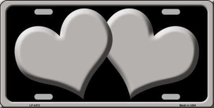 Solid Grey Centered Hearts With Black Background Novelty License Plate