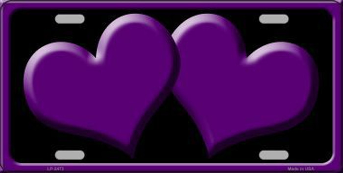 Solid Purple Centered Hearts With Black Background Novelty License Plate
