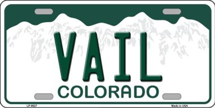 Vail Colorado Background Novelty Metal License Plate