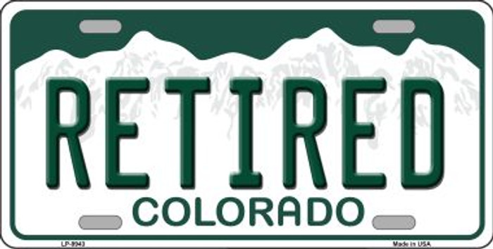 Retired Colorado Background Novelty Metal License Plate