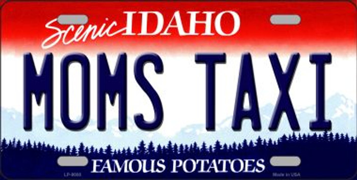 Moms Taxi Idaho Background Novelty Metal License Plate
