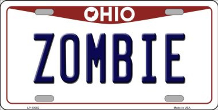 Zombie Ohio Background Novelty Metal License Plate