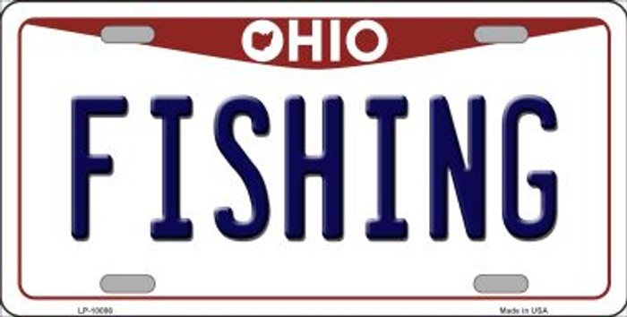 Fishing Ohio Background Novelty Metal License Plate