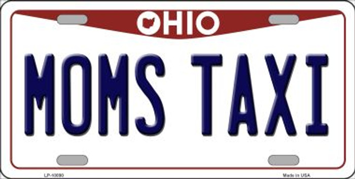Moms Taxi Ohio Background Novelty Metal License Plate