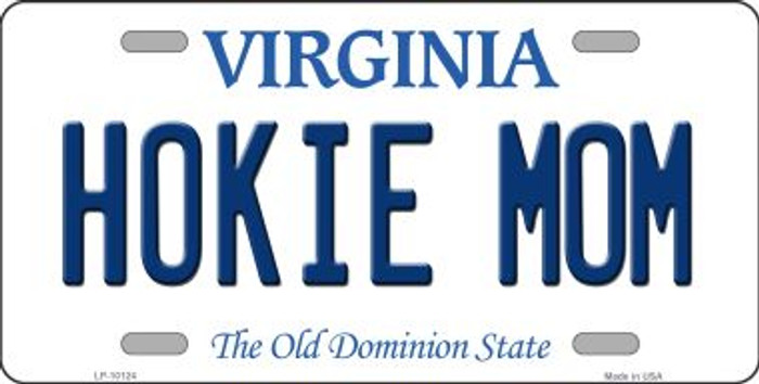 Hokie Mom Virginia Background Novelty Metal License Plate