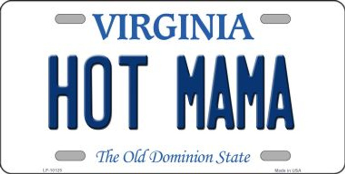 Hot Mama Virginia Background Novelty Metal License Plate
