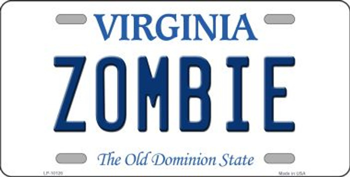 Zombie Virginia Background Novelty Metal License Plate