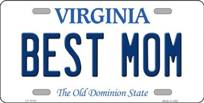 Best Mom Virginia Background Novelty Metal License Plate