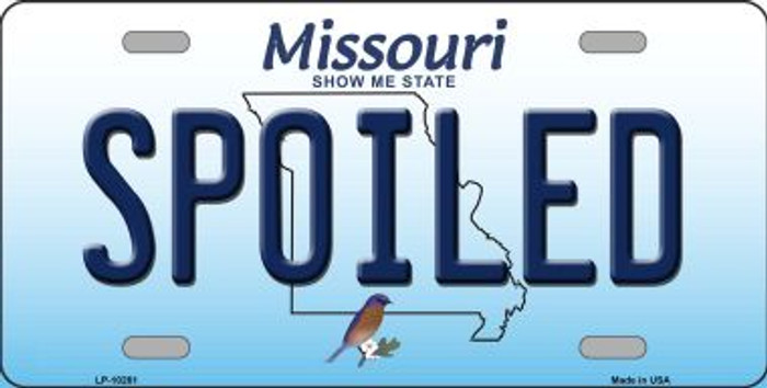 Spoiled Missouri Background Novelty Metal License Plate