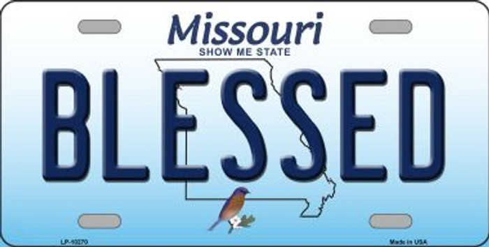 Blessed Missouri Background Novelty Metal License Plate