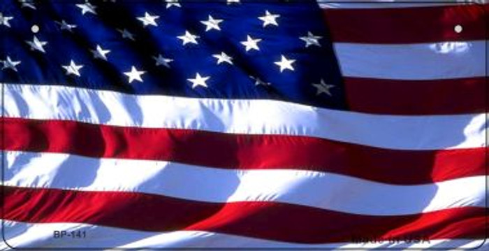 Waving American Flag Novelty Metal Bicycle License Plate