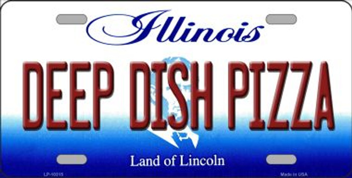 Deep Dish Pizza Illinois Background Metal Novelty License Plate