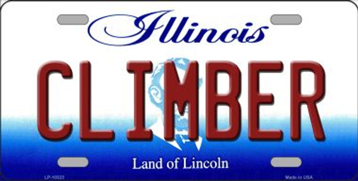 Climber Illinois Background Metal Novelty License Plate