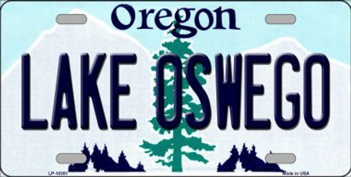 Lake Oswego Oregon Background Metal Novelty License Plate