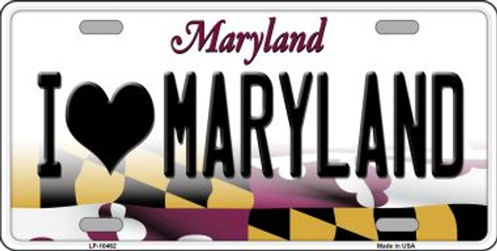 I Love Maryland Background Metal Novelty License Plate