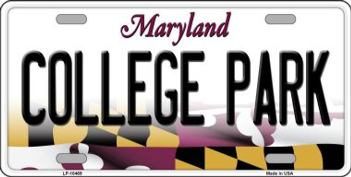 College Park Maryland Background Metal Novelty License Plate