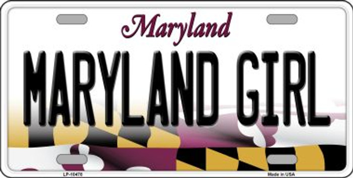 Maryland Girl Maryland Background Metal Novelty License Plate