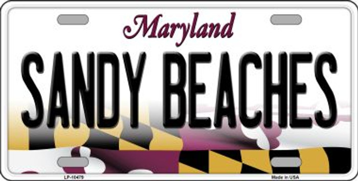 Sandy Beaches Maryland Background Metal Novelty License Plate