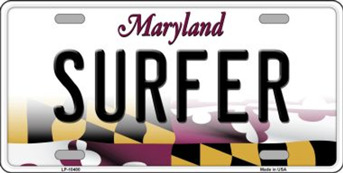 Surfer Maryland Background Metal Novelty License Plate