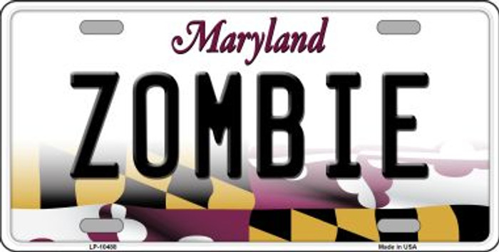 Zombie Maryland Background Metal Novelty License Plate