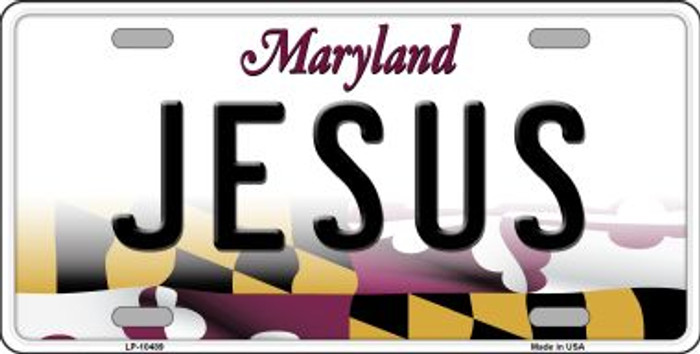 Jesus Maryland Background Metal Novelty License Plate