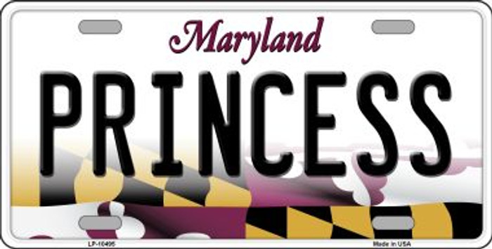 Princess Maryland Background Metal Novelty License Plate