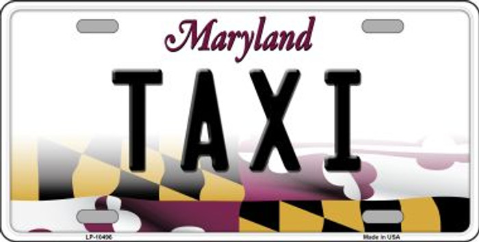 Taxi Maryland Background Metal Novelty License Plate