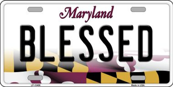 Blessed Maryland Background Metal Novelty License Plate
