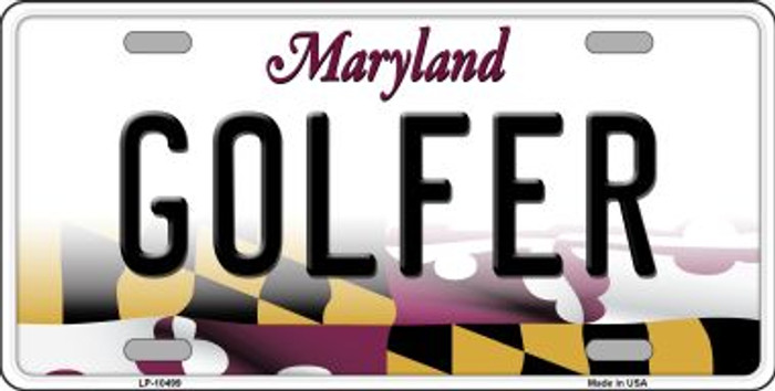 Golfer Maryland Background Metal Novelty License Plate