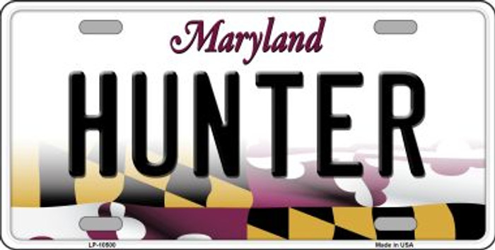 Hunter Maryland Background Metal Novelty License Plate